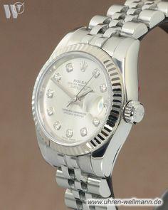 Rolex Lady Datejust 179174, Damenuhr, Automatik, Gehäuse und Armband aus Stahl, Armband mit Faltschließe, Lünette aus Weißgold, Chronometer, verschraubte Krone