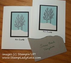 Mass producing and want them all to look the same?  Cut a template. Made with Stampin'UP!'s #WhiteChristmas stamp set.