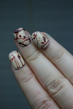 Dexter Blood Splatter Nail Design....MUST try this for Halloween (or any other time of year, who cares? lol)