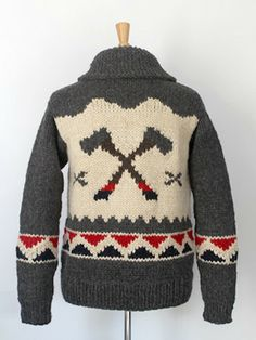 sweater with bears and axes by Granted Vancouver Knitting Ideas, Hand Knitting, Knitting Patterns, Crochet Patterns, Knitted Afghans, Knitted Blankets, Professor Style, Cowichan Sweater, Boys Sweaters
