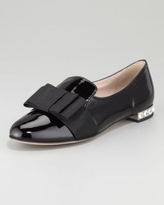 Patent Leather Grosgrain Bow Loafer, Black by Miu Miu at Neiman Marcus.