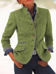 Classic Stand Collar Button Down Coat – shopingnova Klassischer Stehkragen-Button-Down-Mantel – shopingnova Coats For Women, Jackets For Women, Clothes For Women, Outerwear Women, Outerwear Jackets, Look Fashion, Fashion Outfits, Emo Outfits, Lolita Fashion