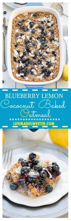 Blueberry Lemon Coconut Baked Oatmeal makes a HEALTHY gluten free breakfast that tastes like dessert. Dairy free and made with NO butter or refined sugar along with frozen or fresh blueberries so you can enjoy this all year long.