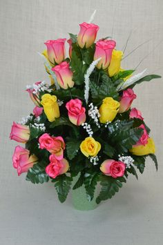 No. R101 Yellow and Hot Pink Rose Cemetery Flower, Spring Cone Flower, Cone Arrangement, Grave, Tombstone arrangement. by AFlowerAndMore on Etsy