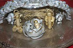 Nativity Scene made with pasta. Presumably celebrating the birth of the Flying Spaghetti Monster.