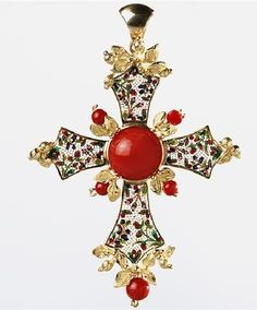 Le Sibille 18k yellow gold cross pendant decorated with a floral micromosaic and coral beads, with the addition of a golden leaf motif