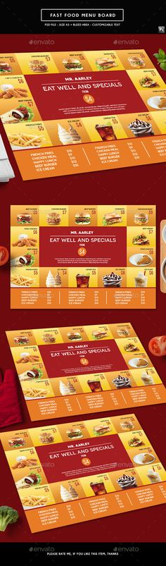 Fast Food Menu Board - Food Menus Print Templates Download here : https://graphicriver.net/item/fast-food-menu-board/19432110?s_rank=94&ref=Al-fatih