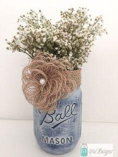 Use navy blue burlap-- Vintage Denim Mason Jar Centerpiece Flower Vase by BUtifulDesigns