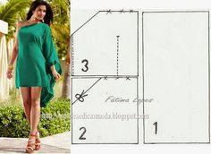 VESTIDO COM UMA MANGA ~ Moldes Moda por Medida