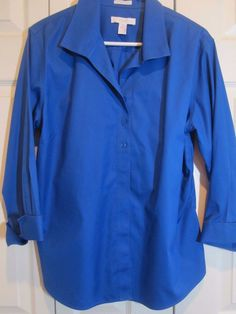 Chico's Size 3 (16) 3/4 cuff sleeve royal blue blouse NWOT Career 100% cotton #Chicos #Blouse #Career