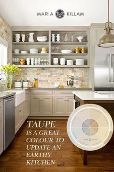 Your kitchen cabinets may be good quality, but expensive does not equal timeless. Here's my advice for a fresher kitchen, without a costly major renovation. Taupe Kitchen Cabinets, Kitchen Cabinets Color Combination, Kitchen Colour Schemes, Kitchen Cabinet Colors, Painting Kitchen Cabinets, Kitchen Colors, Kitchens With Color, Earthy Kitchen, Farmhouse Kitchen Decor