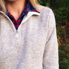 Casual preppy look - flannel & a pullover