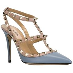 Pre-owned Valentino Garavani Rockstud Slingback Heels Size 39.5 Gray... ($810) ❤ liked on Polyvore featuring shoes, pumps, grey, pointed-toe pumps, gray slingback pumps, leather pointed toe pumps, slingback shoes and leather pumps