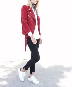 Veda | red suede leather moto jacket