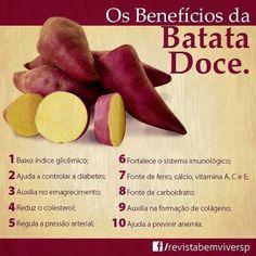 Alguns benefícios da Batata Doce para a saúde. Ajuda a controlar diabetes, ajuda no emagrecimento, reduz o colesterol, regula a pressã...