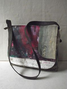 Painting Bag - Abstract/magenta - made out of canvas found in flea markets. So very cool.