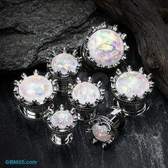 A Pair of Crown Prong Opalescent Screw-Fit Ear Gauge Plug