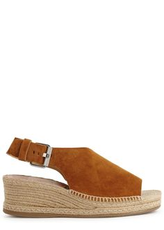 rag & bone chestnut suede espadrille sandals Wedge heel measures approximately 2.5 inches/ 60mm Wrap-effectfront, silver hardware, open toe Buckle-fastening slingback strap Come with a dust bag