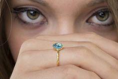 Φυσικό Λονδίνο μπλε Topaz Ring, 925 ασημένιο δαχτυλίδι, δαχτυλίδι πολύτιμος λίθος, Stackable δαχτυλίδι, ασημένιο δαχτυλίδι, Γύρος κομμένα 8 mm, πολύπλευρη δαχτυλίδι