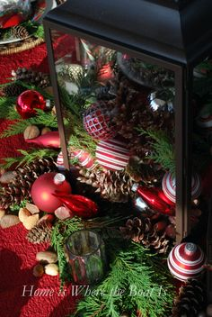Pinecones, Nuts, greenery and ornaments