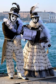 Awesome in black and white with script from Carnival of Venice 2015