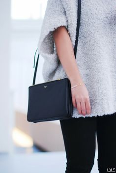 celine trio bag black and Zara fluffily top Look Fashion, Fashion Outfits, Womens Fashion, Looks Style, My Style, Mode Chic, Minimal Chic, Mode Inspiration, Minimalist Fashion