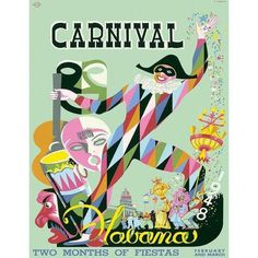 Carnival Havana Travel Poster, Matted and Framed ($65) ❤ liked on Polyvore featuring home, home decor, wall art, framed posters, carnival posters and framed wall art