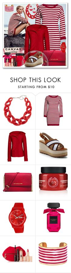 """Paint Your Look With Canvas by Lands' End: Contest Entry"" by mediteran ❤ liked on Polyvore featuring Lands' End, DIANA BROUSSARD, Canvas by Lands' End, Michael Kors, The Body Shop, Swatch, Charlotte Tilbury and Kate Spade"