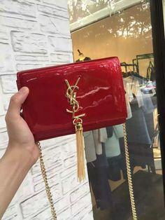 2016 Cheap YSL Small Patent Cassandre Tassel Shoulder Bag in Red