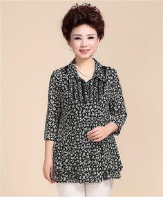 e6ca8f96e746 Ejército de la manga camiseta de vestido de la madre de mediana edad largo  verano de las mujeres de mediana edad yardas gran chaqueta informal  40-50-60 años ...