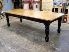 farmhouse black tables | Farmhouse Table with a Natural Finished Extra Thick Cherry Wood Top ...