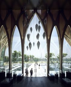 Designed by Zaha Hadid Architects. Zaha Hadid Architects have unveiled their design for the Sleuk Rith Institute in Phnom Penh. Zaha Hadid Design, Phnom Penh, Zaha Hadid Architektur, Islamic Architecture, Landscape Architecture, Interior Architecture, Architecture Wallpaper, Memorial Architecture, Cambodia