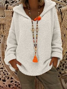 Fashion Women Sweaters Hooded Pull Long Sleeve Tops Oversized Hollow Out Pullovers Loose Solid Color Streetwear Sweater Femme Hooded Sweater, Pullover Sweaters, Knitting Sweaters, Women's Sweaters, Mode Outfits, Chic Outfits, Winter Sweaters, Sweaters For Women, Winter Coats