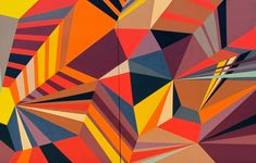 These colorful geometric murals were done by Matt W. Moore, an amazing graffiti artist who can blend shapes, colors and street art all in one. Check out this post for some really awesome graffiti murals all over the globe. Geometric Shapes Art, Geometric Painting, Geometric Wallpaper, Abstract Shapes, Abstract Art, Geometric Patterns, Graffiti Art, Murals Street Art, Shape Art