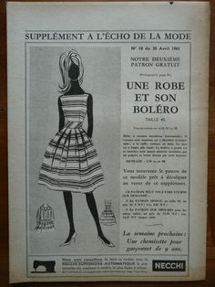 Fashion / Sewing Pattern-Echo de la Mode 1961 - Dress and bolero - T 40