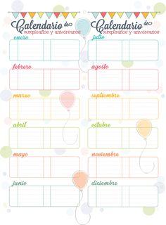 Para no olvidar el cumpleaños.. gratis un calendario imprimible  para recordar los cumpleaños y aniversarios