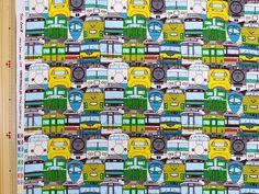 Train printed fabric half  yard multi colour Half yard by HanamiBoutique on Etsy https://www.etsy.com/listing/192174815/train-printed-fabric-half-yard-multi