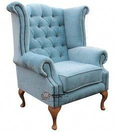 Chesterfield Armchair Queen Anne High Back Wing Chair Velluto Hessian Mink Velvet Wingback Chair, Blue Armchair, Swivel Rocker Recliner Chair, Grey Chair, Wingback Chairs, Lazy Boy Chair, Chesterfield Furniture, Upholstered Furniture, Diy Furniture