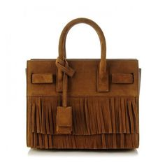SAINT LAURENT Suede Fringe Nano Sac De Jour Light Ocre ❤ liked on Polyvore featuring bags, handbags, cross-body handbag, mini handbags, handbags totes, mini purse and brown crossbody purse
