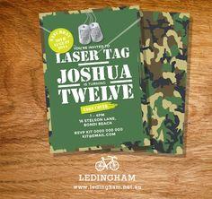 Army Laser Tag Birthday Invitation Personalised by LedinghamShop, $13.95