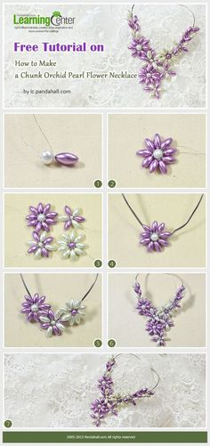 Free Tutorial on How to Make a Chunk Orchid Pearl Flower Necklac .work / … Free Tutorial on How to Make a Chunk Orchid Pearl Flower Necklace …. Jewelry w - Bead Jewellery, Wire Jewelry, Jewelry Crafts, Beaded Jewelry, Handmade Jewelry, Jewellery Making, Jewelry Making Tutorials, Beading Tutorials, Jewelry Patterns
