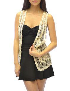 Love the vest. Azkara Womens Open Front Crochet Cardigan Vest by Azkara on Etsy, $19.80