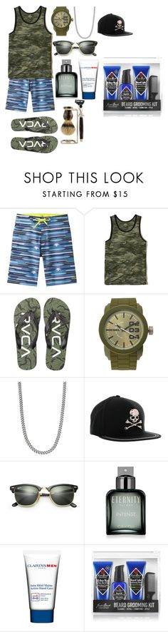 """Untitled #134"" by tody-3 ❤ liked on Polyvore featuring prAna, Hollister Co., RVCA, Diesel, Philipp Plein, Ray-Ban, Calvin Klein, Clarins, Jack Black and The Art of Shaving"