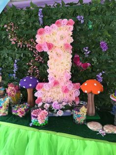 Floral number 1 at a Tinkerbell birthday party! See more party ideas at CatchMyParty.com!