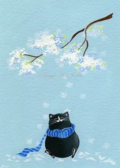 Cat and flower tree