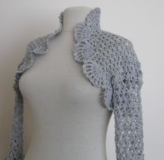 Knitting And Beading Wedding Bridal Accessories and Free pattern: Crochet shrug in light grey / weddings bridal bridesmaids just married bri...