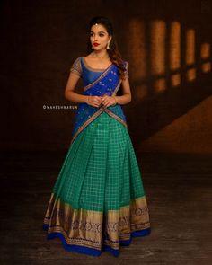 Check out some of the exotic ethnic wears for this season by the brand Anju Shankar Official. Lehenga Saree Design, Half Saree Lehenga, Lehenga Designs, Pattu Saree Blouse Designs, Lehnga Dress, Bridal Lehenga Choli, Anarkali, Indian Fashion Dresses, Indian Gowns Dresses