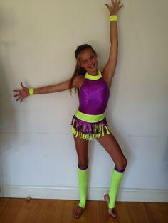Jazz Dancing Costume Fluoro Colours Dance Skating | eBay