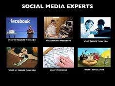 What People think social media experts do vs. what I really do.