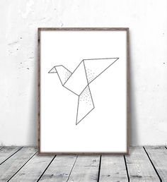 Geometric Bird Print, Origami Print, Dove Print, Pigeon Art, Geometric Dove Art, Paper Crane Art, Geometric Bird Art, Abstract Bird Download, digital print, printable art